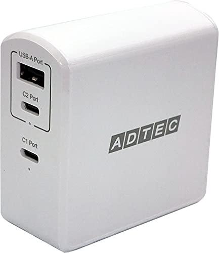 アドテック PD充電器 105W 3ポート【USB-Cx2+USB-A】【PSE対応/Power Delivery対応/GaN (窒化ガリウム) 対応】iPhone 12 Pro Max/Mini /11/10/XR/8/MacBook/iPad Pro/Nintendo Switch他/ホワイトモデル/APD-A105AC2-WH