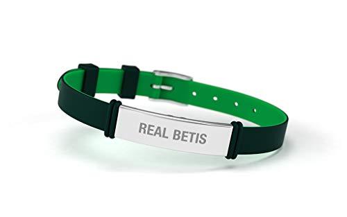 Real Betis Balompié RBB - Bracciale alla moda regolabile per uomo, donna e bambino, in silicone e acciaio inox, prodotto ufficiale verde