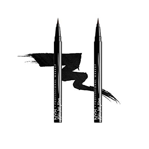 NYX Professional Makeup Eyeliner Epic Ink Liner, Applicatore a Pennellino, Formula Pigmentata, Waterproof, Nero, Confezione da 2