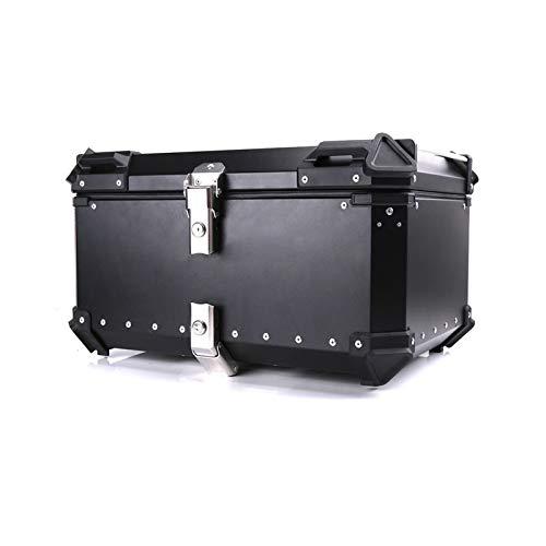 Caja De Casco De Moto Universal Motocicleta Equipaje Trasero Maletero Almacenamiento Moto Top Case Caja de Herramientas Casco Impermeable Cerradura Trasera Caja de Aluminio (Color : 65L Black)
