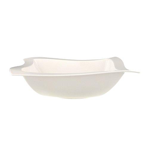 Villeroy & Boch New Wave Square Salad Bowl, 13 in, Premium Porcelain, White