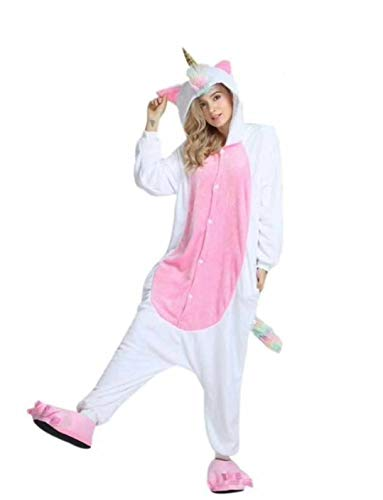 KRAZY TOYS Pijama Animal Entero Unisex para Adultos como Ropa de Dormir-Traje de Disfraz para Festival de Carnaval (Uniconio Dorado, M/L)