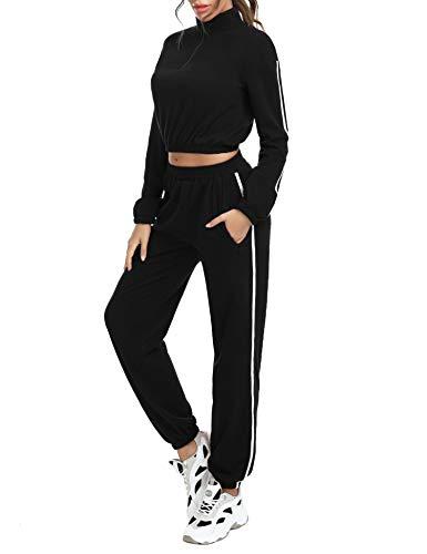 Akalnny Tuta Sportive da Donna 2 Pezzi Crop Felpa e Pantaloni a Tasca Cerniera Tute Ginnastica per Palestra Jogging Yoga Fitness(Nero, L)