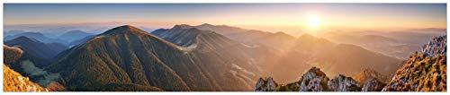 Wallario Küchenrückwand aus Glas, in Premium Qualität, Motiv: Berglandschaft mit Sonnenuntergang in der Slowakei | Spritzschutz | abwischbar | pflegeleicht