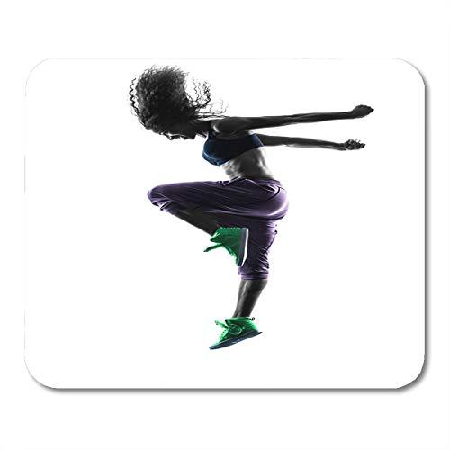 Mausmatte, hintergrundbeleuchteter schwarzer Tanz Eine afrikanische Frau Zumba-Tänzer-Tanzübungen im Studio Silhouette White Action Customized Mousepad für Tourismusurlaub,25x30cm