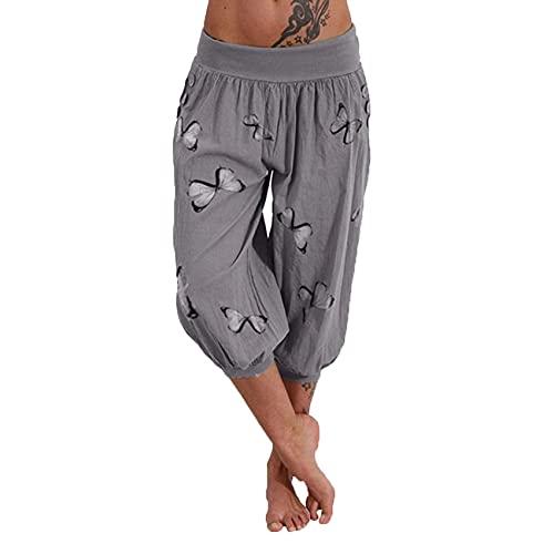 Pantalones De Mujer Pantalones Cortos Casual Cintura EláStica Suelta Pantalones De Mujer De Verano hasta La Pantorrilla