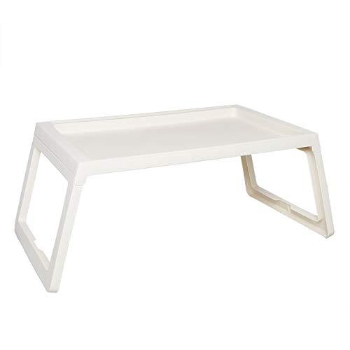 TIENDA EURASIA Mesa Plegable Multiusos - Bandeja Plegable de Plástico Resistente - 68 x 35.5 x 26 cm - Ideal para Uso Interior o Exterior (Blanco)