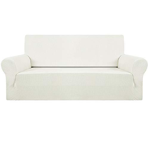 Fundas de sofá de 1/2/3 plazas y sofá de esquina, de ajuste fácil, tejido elástico de licra, funda de sofá (color blanco marfil, 3 plazas)