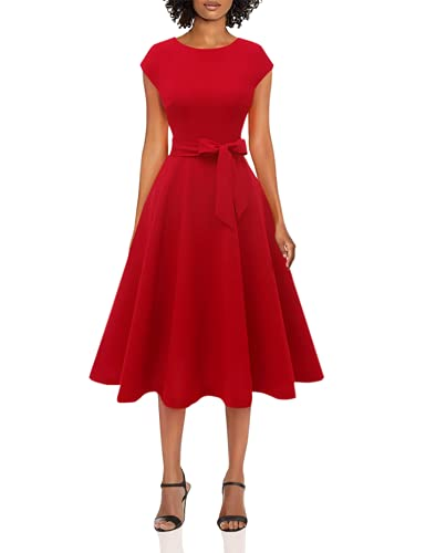 DRESSTELLS Women's Prom Tea Dress Vintage Swing Cocktail Party Dress with Cap-Sleeves Red L