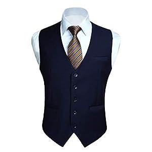 Enlision ビジネス ベスト 紺 メンズ スーツ ベスト フォーマル 大きいサイズ ジレベスト Vネック チョッキ 結婚式 光沢 尾錠付き 紳士 日本Lサイズ相当