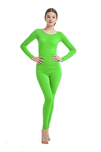 Full Bodysuit Womens Long Sleeve One Piece Jumpsuit Spandex Zentai Unitard (Medium, Lime Green)