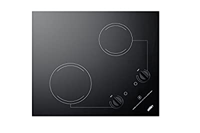 "Summit CR2B121 115V 2-Burner 21"" Radiant Cooktop For Portrait or Landscape Installation In 20"" x 16"" Cutouts, Black"