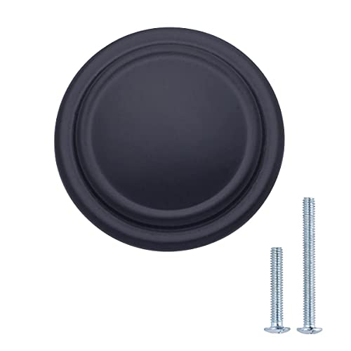 Amazon Basics - Pomolo liscio con bordo ad anello per mobili, Diametro: 3,17 cm, Nero uniforme, Confezione da 25 pezzi
