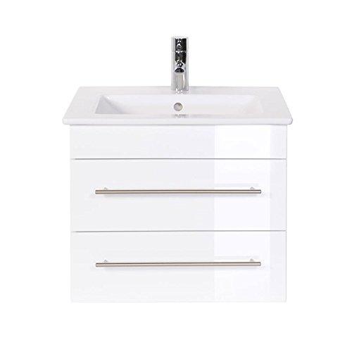 Villeroy und Boch Doppelwaschtisch 60cm, Badezimmermöbel in Hochglanz weiß ● Waschtisch Unterschrank mit 2 Schubkästen ● Keramik Waschbecken ● Made in Germany
