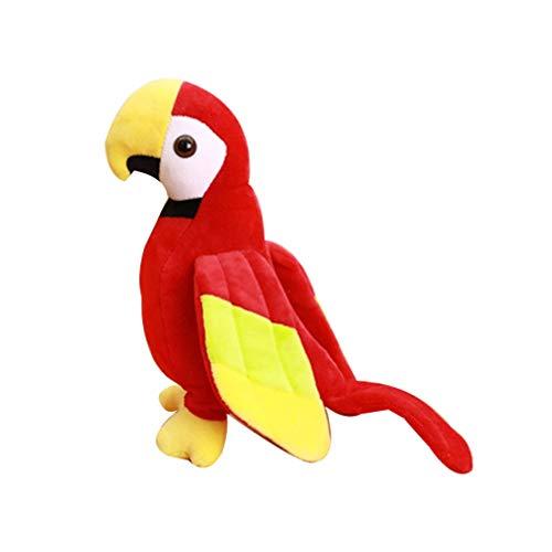 NUOBESTY Loro de Peluche de Juguete Realista Loro de Peluche de Juguete de Felpa Loro Mullido Pájaro Animal de Peluche para Niños Decoración Rojo M