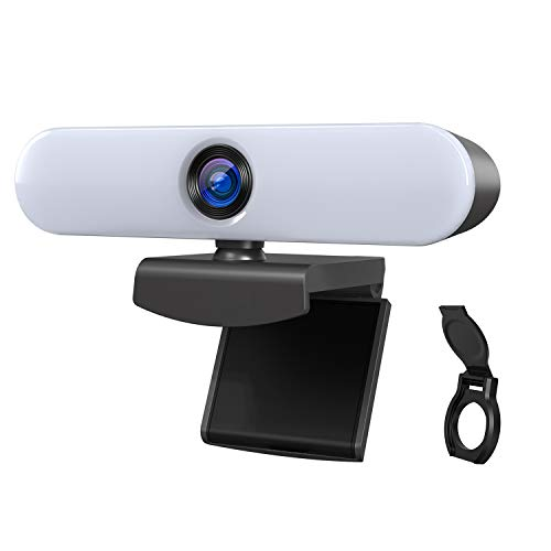 ieGeek Webcam HD 1080P con doppio microfono, webcam USB con luce regolabile, rotazione a 360 gradi, webcam streaming per chat video, apprendimento a distanza, videoconferenza