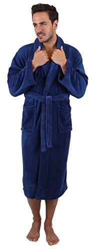 Betz Albornoz Bata para Hombres de Microfibra Tallas S-XXL Tamaño S - Azul Marino