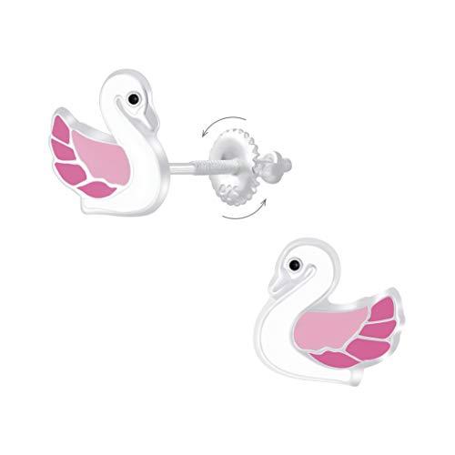 Laimons Pendientes infantiles con diseño de cisne y pájaro, 8 mm, color rosa y blanco, con cierre de rosca de plata de ley 925