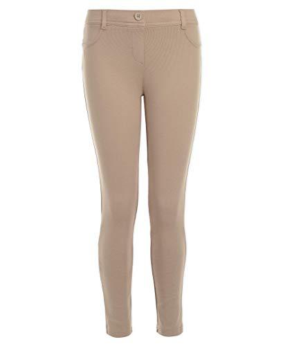Nautica Girls' Big School Uniform Stretch Interlock Legging, Khaki, 14