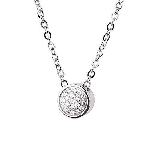 Collar Evia Ernstes Design K784 colgante de circonita, acero inoxidable, cadena de ancla