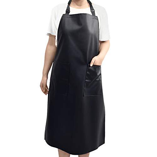 Wasserdichte Schürze Verstellbare Küchenschürze mit 2 Taschen für Männer & Frauen Wasser- und ölbeständig für Küche,Hundepflege, Restaurant, Garten und Grill (Black)
