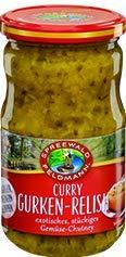 Spreewald Feldmann Curry Gurken-Relish, exotisches, stückiges Gemüse-Chutney 350 g
