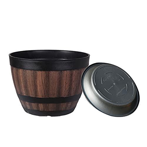 Duomu - Jardinera de resina en forma de barril de Whisky, Jardinera redonda Vintage, Jardinera de exterior para el interior, el jardín y el patio