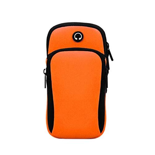 Outdoor Arm Bag - Laufen, Telefonarmband, Handyarmband, Multifunktional, Fitness, Mit Kopfhöreranschluss, Laufen, Joggen, Laufen, Wandern, Universal (Color : Orange)
