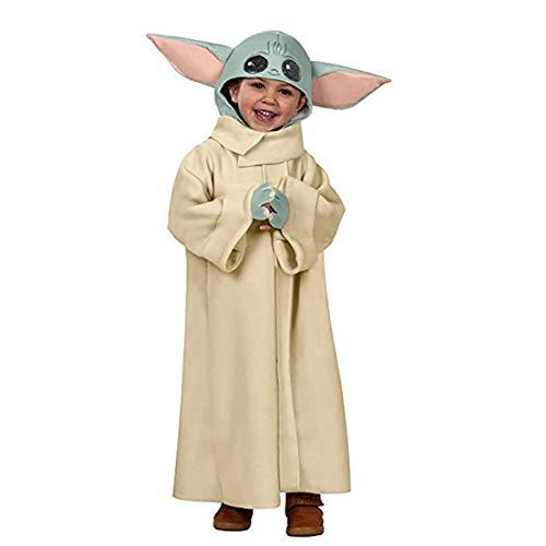 LHFD Star Wars The Mandalorian El Disfraz de niños, Disfraz de bebé Yoda, Tamaño del niño del niño, Cosplay, Halloween, Navidad, Cumpleaños, niños