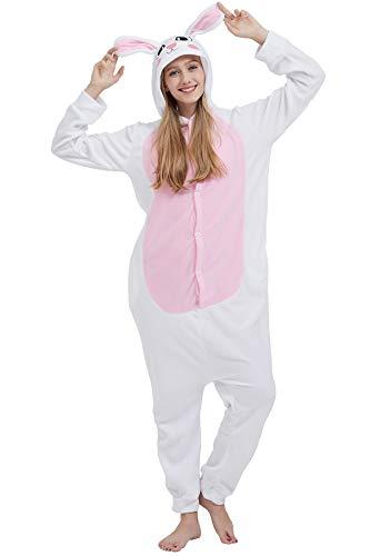 Pigiama Animati Kigurumi Cosplay Coniglio Bianco Animale Adulti da Unisex Uomo Donna