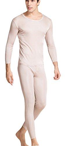 METWAY Silk Long Underwear Men's Silk Long Johns|2pc Thermal Underwear Set X-Lager Beige