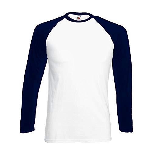 "Fruit of the Loom - Kontrast Langarm-Shirt \""Baseball Longsleeve T\"" XL,White/Deep Navy"