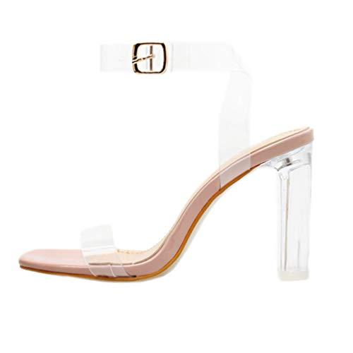 Happyyami Sandalias Transparentes para Mujer Zapatillas Sandalias de Punta Abierta Zapatos de...