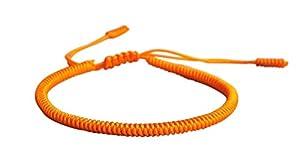 Lucky Buddhist – Tibetisches Glücksarmband + Anhänger/Halskette! – Für Männer, Frauen, Teen – Geflochtene Freundschaftsarmbänder, Handgefertigt – Einstellbares Armband für das Handgelenk (Orange)