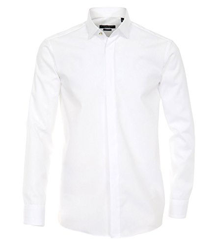 CASAMODA Langarm Hemd Weiss 100% Baumwolle Kläppchenkragen Smokinghemd 40