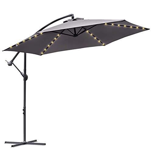 Hengda 300 cm Alu Ampelschirm Sonnenschirm Gartenschirm Balkonschirm Kurbelschirm mit UV Schutz 30+ Wasserabweisende mit Solar LED Beleuchtung für Balkon, Garten, Tarasse| Grau