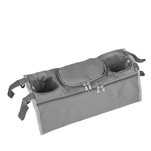 LAVALINK Buggy Organizer Bag Buggy kinderwagen of kinderwagen tas voor baby Essentials Caddy accessoires met universele pasvorm en flessenbekerhouder grijs