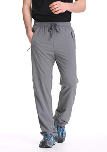 TRAILSIDE SUPPLY CO. Mens Workout Athletic Pants for Sports Gym Travel - Stretchy,Breathable, Grey, L