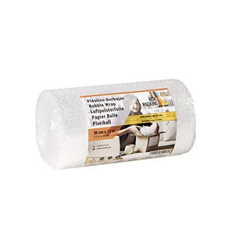 BOXPACKING   Rollo de Plástico de Burbujas   Perforado cada 30 centímetros   30 cm ancho x 12 m largo   Papel Burbuja para Embalaje y Mudanza