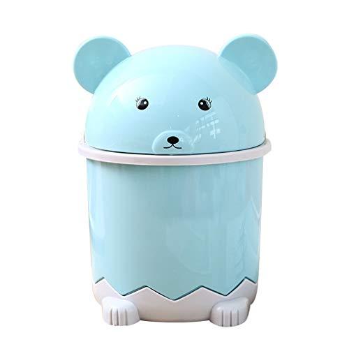 IsMoon Mini-Abfalleimer mit Deckel, Desktop Süß Kleiner Bär Müllkorb, 21x14cm Tisch Mülleimer Desktop Papierkorb Klein Abfallbehälter (Blau)