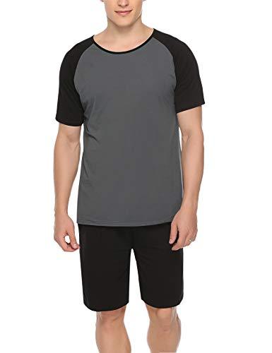 Hawiton Herren Schlafanzug Kurz Sommer Pyjama Nachtwäsche Set Kurzarm Shorty Baumwolle mit Kontrastfarbe Schwarz S