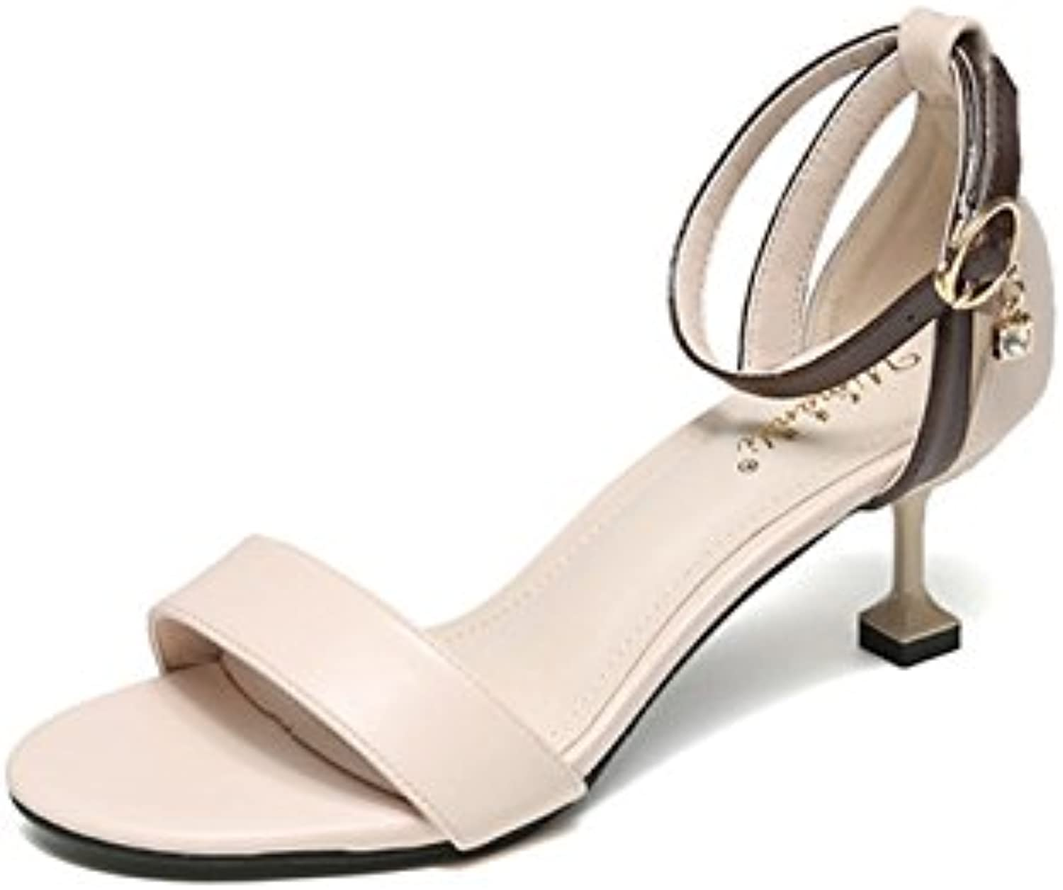 Gracosy Leather Pump shoes, Women's Heeled Sandals Fashion Ankle Strap Dress Sandal Peep Toe High Heels