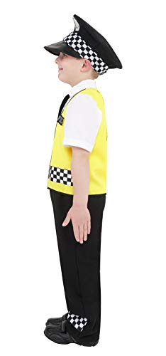 Smiffys Police Costume, Black, with Top, Trousers, Hat & Radio Set, Small
