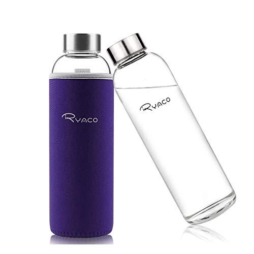 Ryaco Bottiglia d'Acqua, 550ml Bottiglia Vetro Trasparente Portatile con Guaina Protettiva in Neoprene per Il Campeggio Viaggi tè Ufficio (Viola, 550ml)