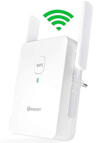 HOHADOY Amplificador WLAN para enchufe, AC1200, repetidor WiFi Dual WiFi 5 GHz (867 Mbit/s), 2,4 GHz (300 Mbit/s), puerto LAN, WPS, modo AP, amplificador de Internet, versión en alemán