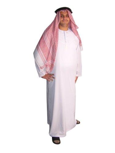 Egypt Bazar Dreiteiliges Araber Scheich Kostüm Scheichkostüm, Karnevalskostüm - Faschingskostüm, Weiss (3XL)