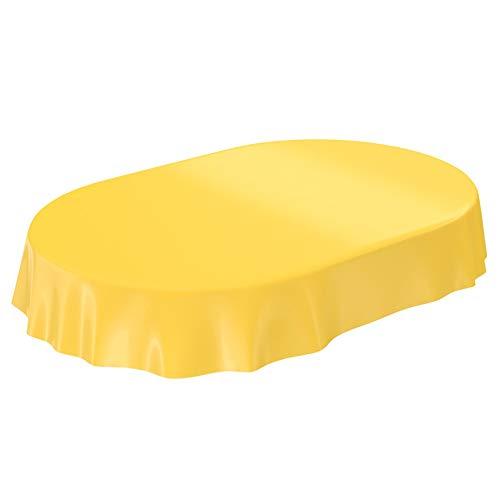 ANRO Wachstuchtischdecke Wachstuch abwaschbare Tischdecke Uni Glanz Einfarbig Gelb Oval 180x140cm