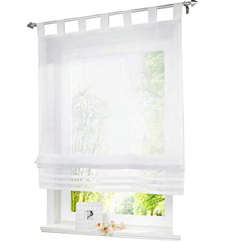 ESLIR Raffrollo mit Schlaufen Raffgardinen Gardinen Küche Transparent Schlaufenrollo Vorhänge Modern Voile Weiß BxH 80x155cm 1 Stück
