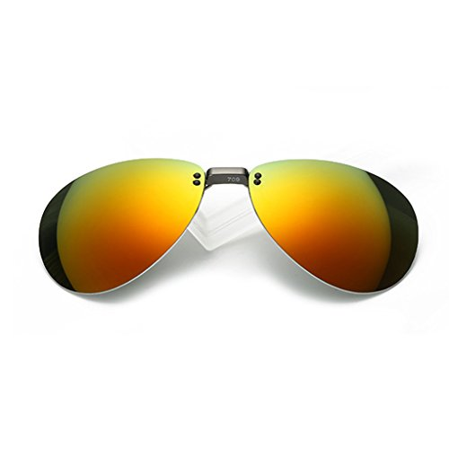 クリップオン オーバーサングラス 偏光レンズ uv400カット を防ぐ 超軽量 屋外の活動用 クリップオン 近視のためにと 偏光サングラス 跳ね上げ式 男女兼用 (オレンジ)