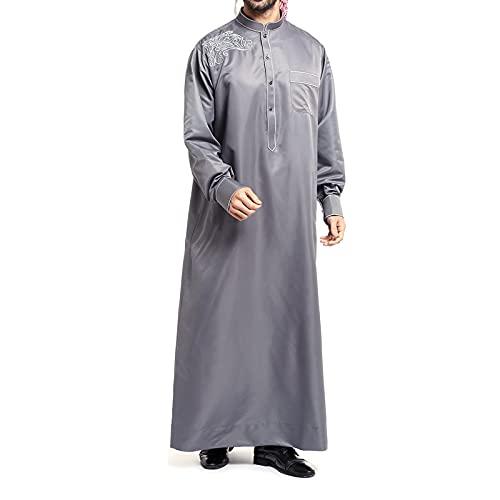 MAORR Robas de los Hombres islámicos Musulmanes, Estilo Este Bordado, diseño Holgado, Tejido de poliéster cómodo, Manga Larga, Bolsillos, para Negocios Casuales Diariamente